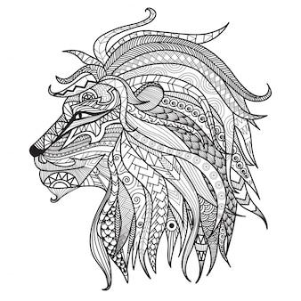 Fundo de leão desenhado mão