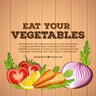 Fundo de legumes com design plano