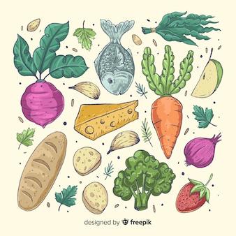 Fundo de legumes e frutas de mão desenhada