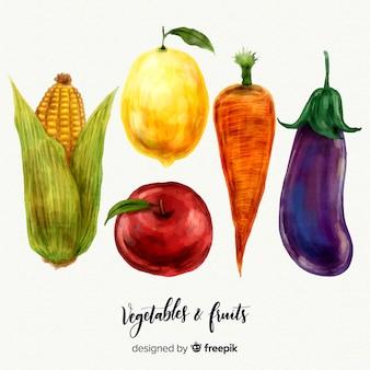 Fundo de legumes e frutas em aquarela