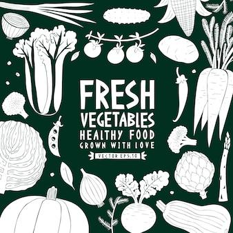 Fundo de legumes. estilo linogravura. comida saudável. ilustração vetorial