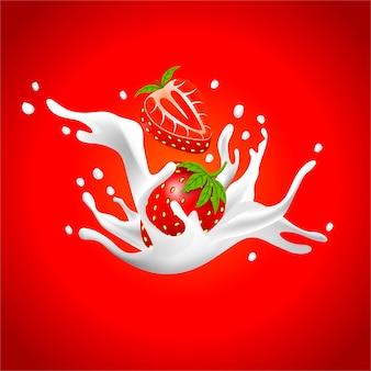 Fundo de leite com morango