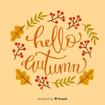 Fundo de letras de outono com folhas