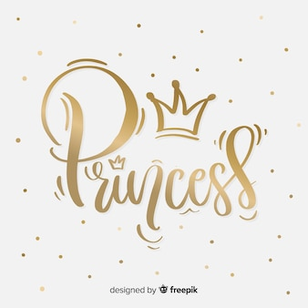 Fundo de letras de princesa dourada