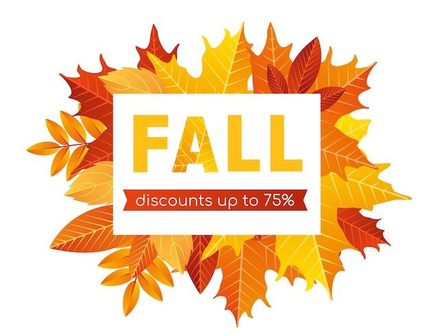 Fundo de letras de venda de outono promoção de oferta de desconto plano de desenho animado para compras em banner de outono