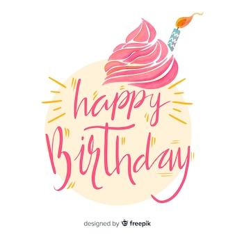 Fundo de letras em aquarela feliz aniversário