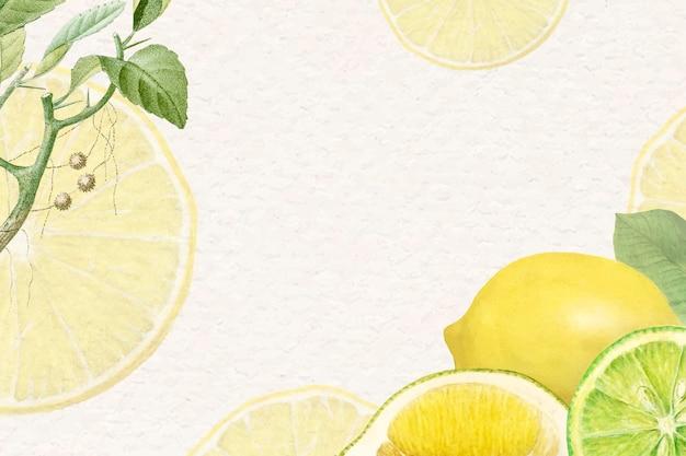 Fundo de limão fresco natural desenhado à mão