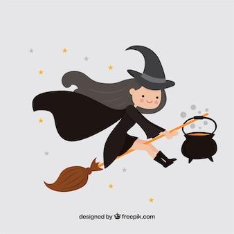 Fundo de linda bruxa com caldeirão e vassoura