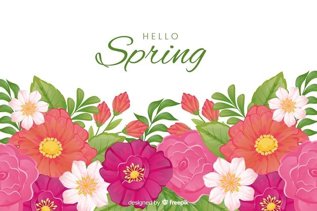 Fundo de linda primavera com fluxo colorido com flores coloridas