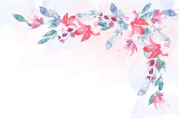 Fundo de lindas flores em aquarela