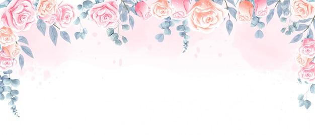 Fundo de lindas rosas em aquarela para papel de parede, cenário de casamento e qualquer impressão.