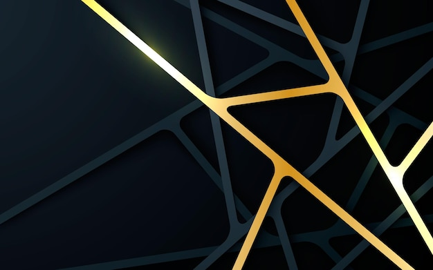 Fundo de linha de dimensão abstrato preto e dourado