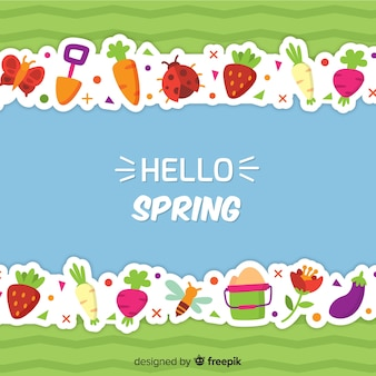 Fundo de linha de elementos de primavera