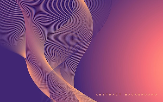 Fundo de linha ondulada gradiente roxo abstrato
