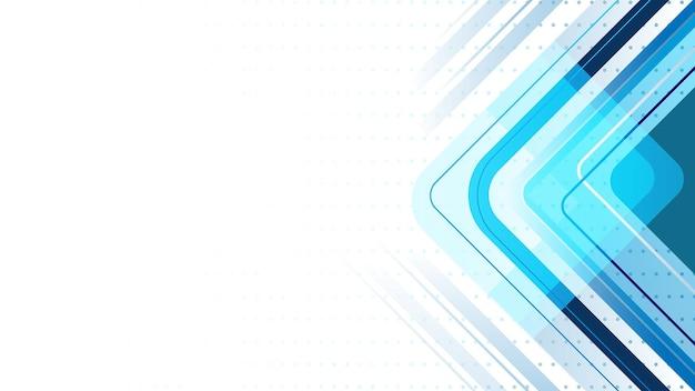 Fundo de linhas abstratas com polígono e linhas curvas. moderno, azul e branco.