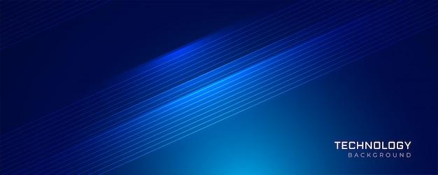 Fundo de linhas brilhantes de tecnologia azul