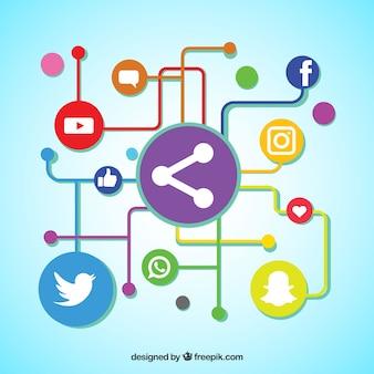Fundo de linhas coloridas e círculos com ícones de redes sociais