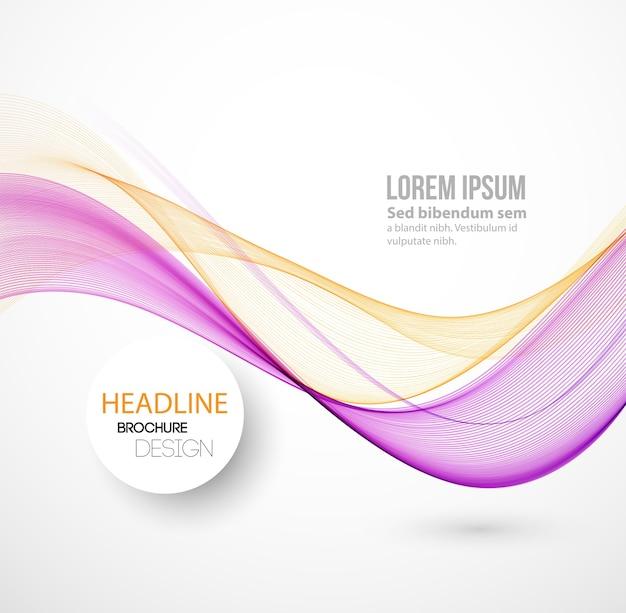 Fundo de linhas curvas de cor abstrata. modelo de design de brochura. linhas de fumaça