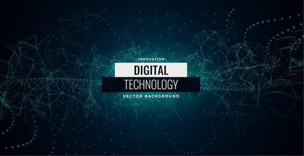 Fundo de linhas de caos de partículas de tecnologia digital