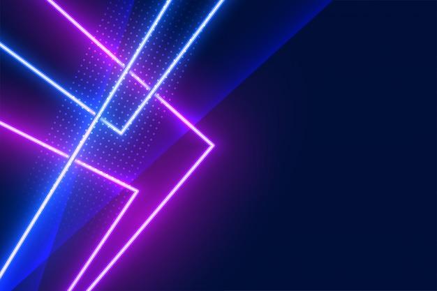 Fundo de linhas de efeito de luz de néon geométrica azul e roxa