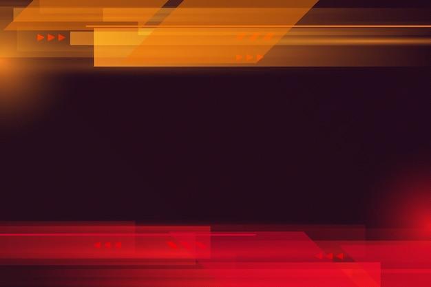 Fundo de linhas de listras futuristas vermelhas e amarelas abstratas.