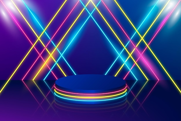 Fundo de linhas de luzes de néon realistas