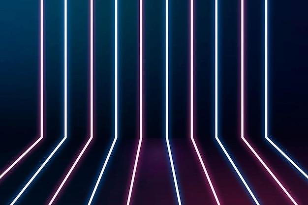 Fundo de linhas de néon brilhantes em azul e rosa