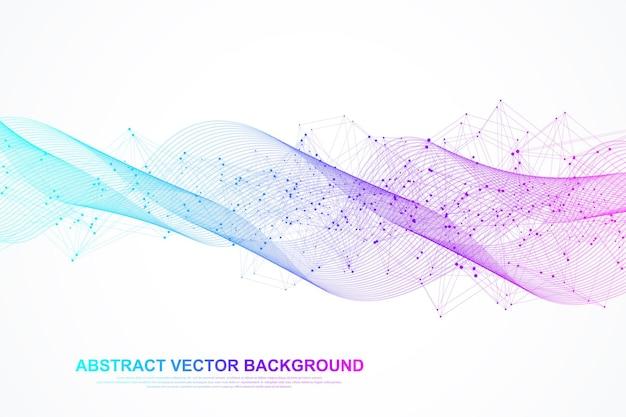 Fundo de linhas de onda colorida abstrata. partículas dinâmicas onda sonora fluindo fundo abstrato. modelo geométrico para seu design de brochura, folheto, relatório, site, banner. ilustração vetorial