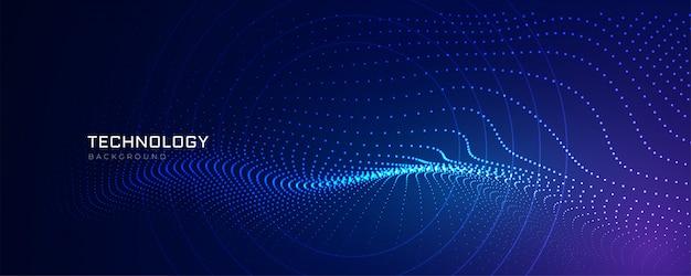 Fundo de linhas de partículas de tecnologia