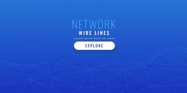 Fundo de linhas de rede elegante azul baixo poli
