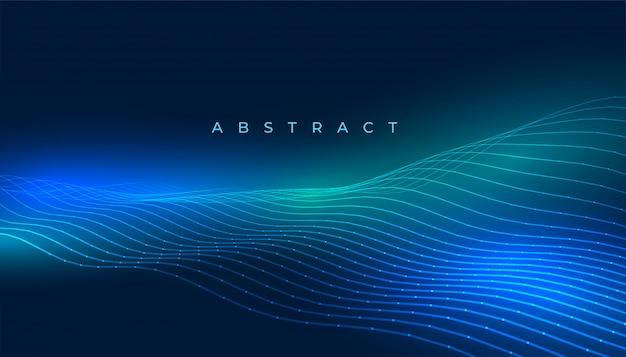 Fundo de linhas de tecnologia com luzes brilhantes azuis