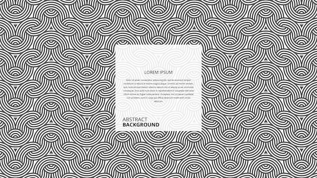 Fundo de linhas geométricas onduladas de forma circular abstrata com modelo de texto de amostra
