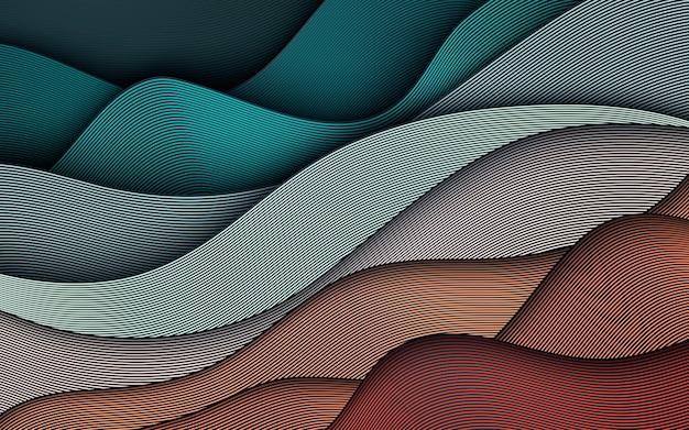 Fundo de linhas onduladas coloridas. elemento texturizado dinâmico. ilustração moderna de gradiente de luz.