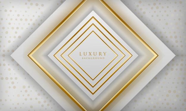 Fundo de linhas quadradas brancas e douradas de luxo com elementos de pontos brilhantes modelo de design elegante
