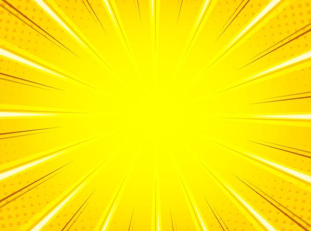 Fundo de linhas radiais de sunburst amarelo em quadrinhos abstrato