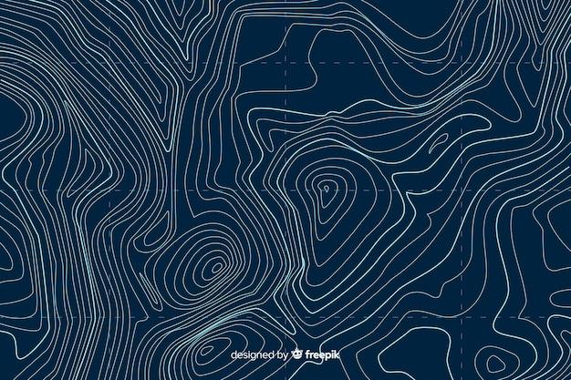 Fundo de linhas topográficas de vista superior