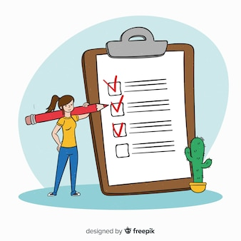 Fundo de lista de verificação de mão desenhada