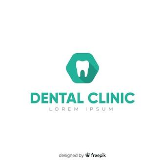Fundo de logotipo de clínica dentária plana