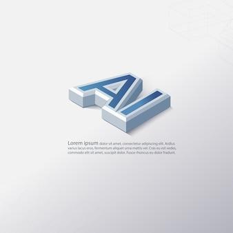 Fundo de logotipo de texto 3d ai (inteligência artificial)