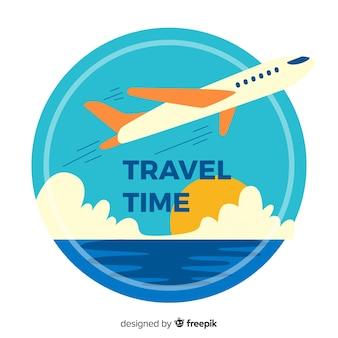 Fundo de logotipo viagens vintage plana