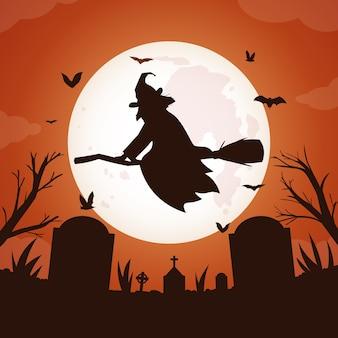 Fundo de lua cheia de halloween com bruxa voando sobre o cemitério