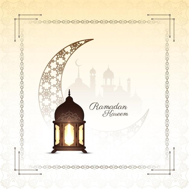 Fundo de lua crescente de ramadan kareem com lanterna