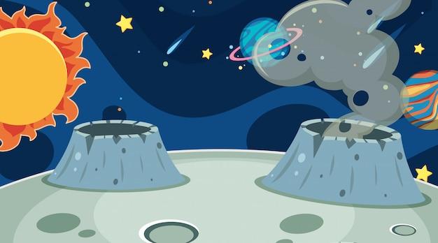 Fundo de lua de espaço exterior