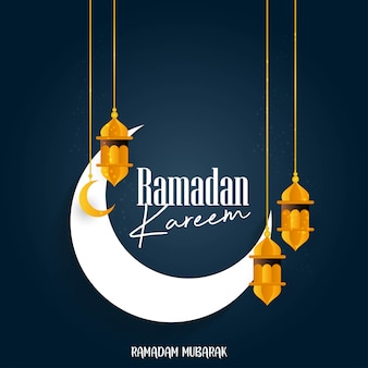 Fundo de lua de ramadan kareem