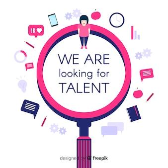 Fundo de lupa de pesquisa de talento