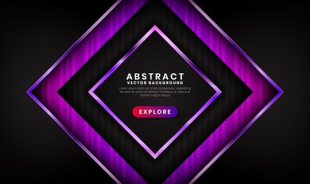 Fundo de luxo 3d abstrato preto e roxo com efeito brilhante