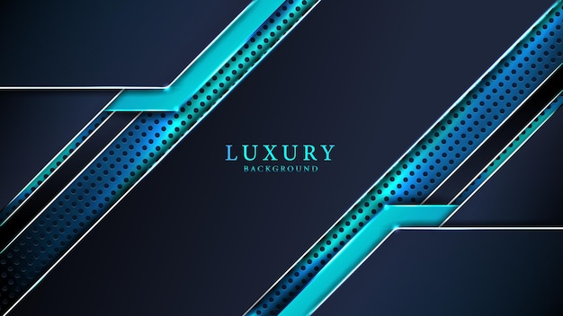 Fundo de luxo abstrato azul com efeito de luz brilhante e formas criativas