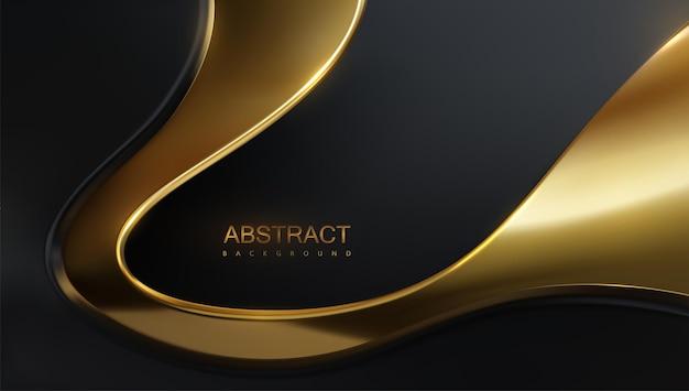 Fundo de luxo abstrato com camadas onduladas pretas e douradas Vetor Premium