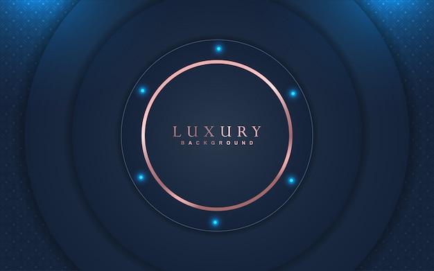 Fundo de luxo abstrato com decoração de elementos em azul marinho e ouro rosa