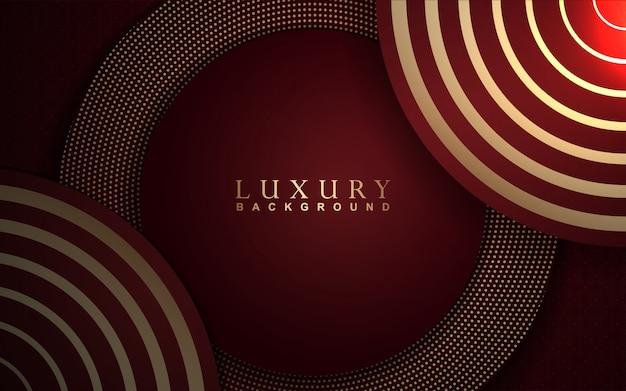 Fundo de luxo abstrato com decoração de luz vermelha e dourada